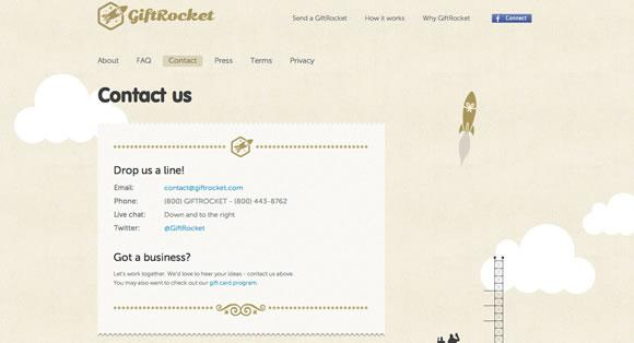 Gift Rocket Website Contact Form