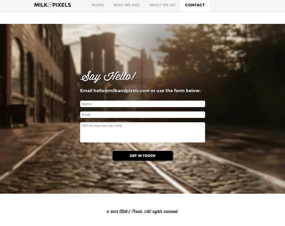 Milk and Pixels Website Contact Form